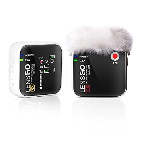 LENSGO Système de Microphone Cravate sans Fil 348C 2,4 G avec Emplacement pour Carte TF Compact 1 émetteur et 1 récepteur Micro Cravate sans Fil pour iPhone Smartphone Appareil Photo Vlog Youtube W-