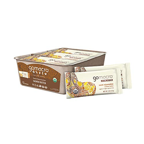 GoMacro MacroBar Organic Vegan Snack Bars - Cashew Butter (2.0 Ounce Bars, 12 Count)