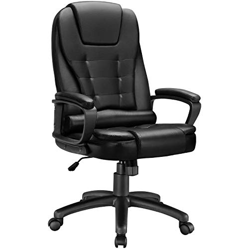 BOSSIN High-Back Executive Office Chair Leather Computer Desk Chair with Armrest,Swivel Ergonomic Task Chair with Lumbar Support,Thick Padded Headrest Rolling Chair for Adults (Black)