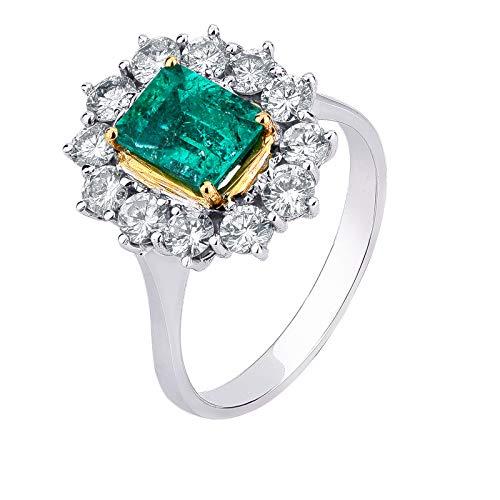Carlo Raspagni Maestri joyeros Desde 1889 Anillo de Oro Blanco 18 KT. con Diamantes Naturales y Esmeralda Colombia de 1,55