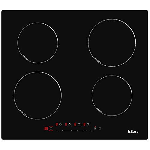 Plaque à Induction 4 Foyers, Encastrable Plaques de Cuisson à Induction, 6800W Plaque de Cuisson Électrique Portable, Cuisson en Verre - (Autarkic, avec Booster, Touch Control) (Noir, 4 foyer)