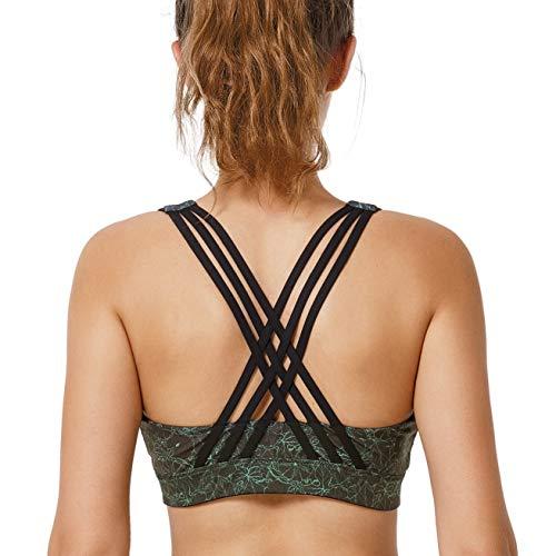 Yvette Damen Sport BH Starker Halt Vorne Reißverschluss Gekreuzt Rücken Große Größen Bustier Für Yoga, Lauf, Fitness, Dunkelgrün, M(A-C)