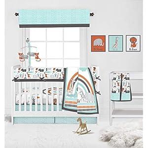 Bacati – Jungle Safari Aqua Orange Grey 10 pc Nursery in a Bag Cotton Boys Crib Bedding Set with Crib Rail Gurad for US Standard Crib