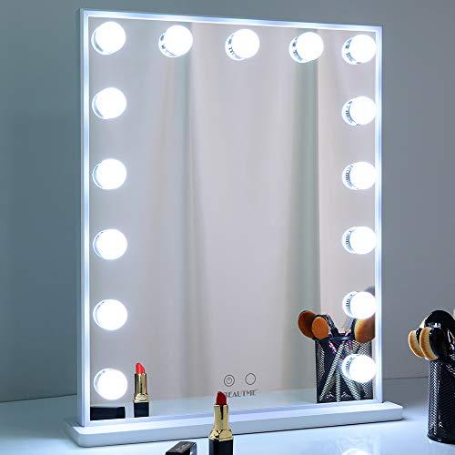 WONSTART Hollywood Schminkspiegel mit Beleuchtung, Make-up-Spiegel mit 15 LED-Leuchten, Schminktisch oder Wandmontage, Weiß