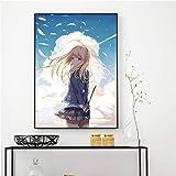 KWzEQ Leinwanddrucke Anime Cartoon Bilder Poster und Heimtextilien für Wohnzimmer70x105cmRahmenlose...