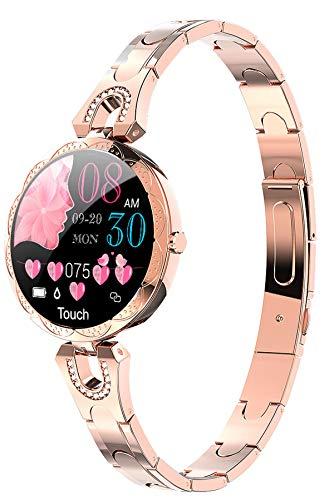 Smartwatch Damen Rosegold Fitnessuhr mit Blutdruckmessung Fitness Armbanduhr Pulsuhr Schrittzähler Uhr Frauen Pulsmesser Schlaftracker IOS Android Elegant Diamant Wasserdicht Rund Aktivitätstracker
