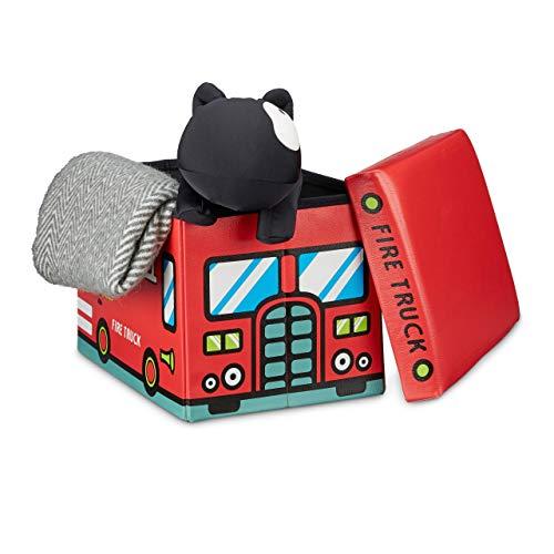 Relaxdays 10020376 Coffre à jouets similicuir boîte à jouets couvercle tabouret pouf enfant pliable H x l x P: 32 x 48 x 32 cm capacité 37 L, pompiers