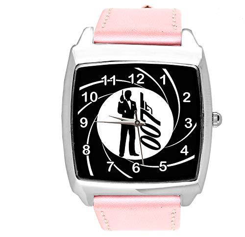 Taport®, orologio quadrato in pelle rosa per fan di James Bond 007
