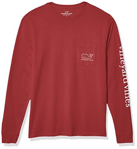 vineyard vines Men's Long-Sleeve Whale Pocket T-Shirt, College Maroon, L