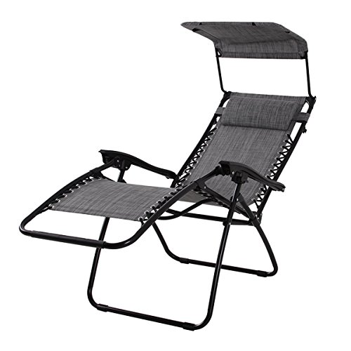 PHI VILLA Textilene Zero Gravity Lounge Chair Patio with Canopy Folding Adjustable Reclining Chair, Light Grey