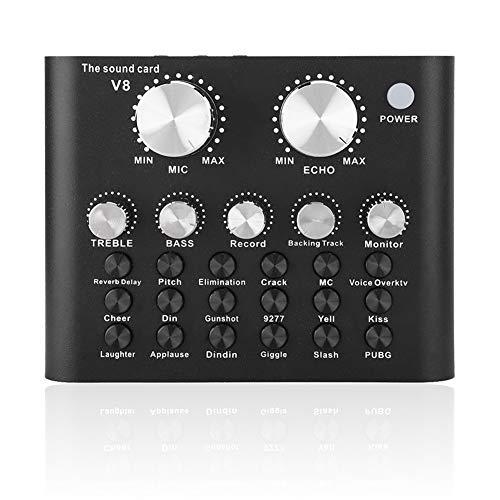 Kafuty V8 Live Sound Card, Metal Shell Telefono Cellulare Computer Voice Changer Scheda Audio Bluetooth con 112 Elettro-acustici 18 Effetti sonori 6 modalità Effetti, per la Registrazione dal Vivo