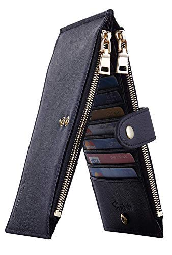 Travelambo Womens Walllet RFID Blocking Bifold Multi Card Case Wallet with Zipper Pocket Crosshatch (Black 4001)