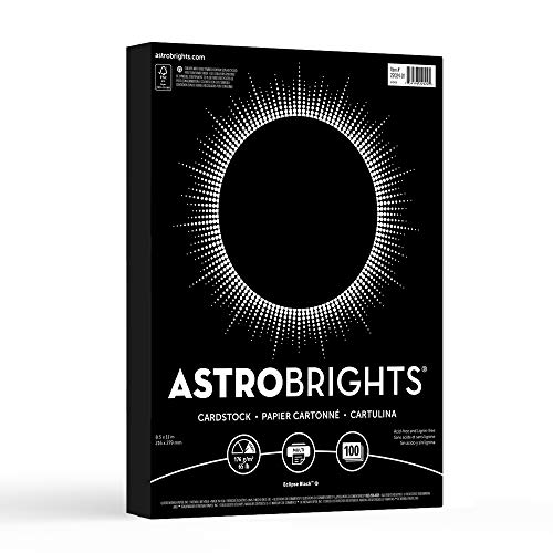 "Neenah Paper Astrobrights Colored Cardstock, 8.5"" x 11"", 65 lb/176 gsm, Eclipse Black, 100 Sheets (22024-01)"