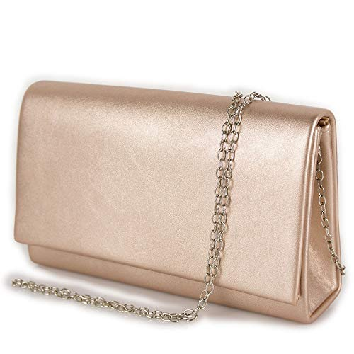 Clutch bag oro rosa laminata a busta Pochette donna cerimonia borsa piccola mano borsetta con tracolla catena da sera matrimonio comunioni primavera estate 2021 Ecopelle laminato rose-gold