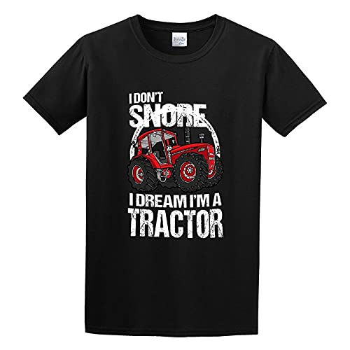 I Don't Snore I Dream I'm A Tractor Big Red Farm Graphic Top Printed Shirt Short Sleeve tee Mens T Shirt Black S