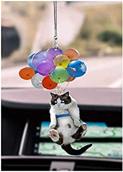 Cat and Balloon Car Hanging Ornament Cat Lover Cat Car Hanging Ornament with Colorful Balloon Best Gift for Cat Lovers Car Hanging Ornament with Balloons Cat Car Ornaments for Rear View Mirror  1