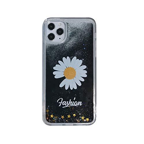 Funda para iPhone SE 2020, iPhone 7/8, 3D Glitter sand fluyendo líquido Bling Sparkle Cute Clear Soft TPU Bumper Gel Silicona a prueba de golpes Funda protectora para Niñas Mujeres Negro Margarita