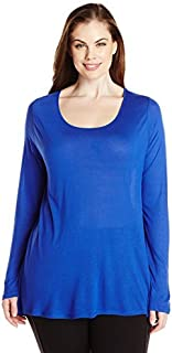 Paper + Tee Women's Plus Size Scoop Neck Long Sleeve Hi/lo Knit Top