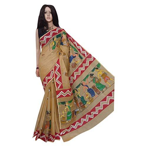 Fawn indio étnico sari sari tussar seda mano pintura tejedores hechos a mano de la aldea de Bengala 158a