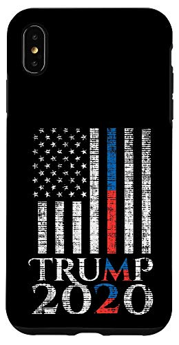iPhone XS Max Trump 2020 Thin Blue Red Line US Flag Vintage Police Fireman Case