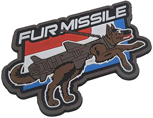 Fur Missile Patch, Funny Dog Tactical Patches Service Dog Patches Hook Military Badge 3D PVC Fur Missile K9 Dog Badge Police Dog Tactical Harness Vest Airsoft Patches-1Pcs