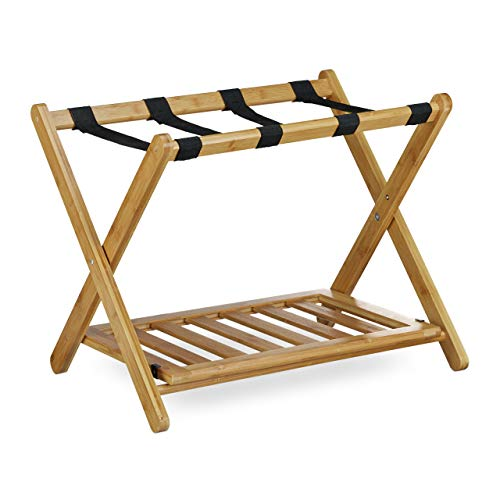 Relaxdays Bamboo Luggage Stand, Size: 53 x 68 x 53 cm Foldable Suitcase Rack for Holding Suitcases Backpacks as Luggage Support or Stand made of Wood as Tray Stand and Suitcase Shelf, Natural Brown