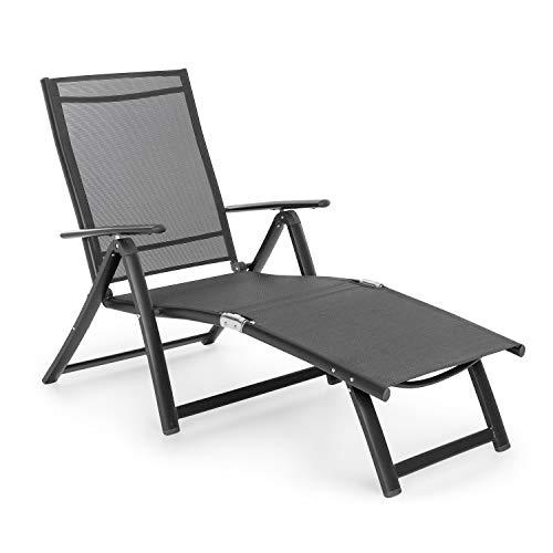 blumfeldt Pomporto Lounge Liegestuhl Sonnenliege Gartenliege (Liegefläche: 173,5 x 51 cm, höhenverstellbare Lehne in 7 Stufen, Wasserabweisende Liegefläche, ComfortMesh, klappbar) anthrazit