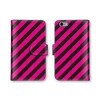 【ノーブランド品】 Galaxy A8 SCV32 スマホケース 手帳型 ストライプ ピンク ブラック 1番 スマホカバー かわいい おしゃれ 携帯カバー SCV32 ケース 携帯ケース ギャラクシー