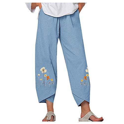 GEU - Pantalón de yoga para mujer, estilo boho Harem, con pantorrillas elásticas de lino y algodón, talla grande, con estampado de pantorrillas informales, Mujer, GEU, azul celeste, large