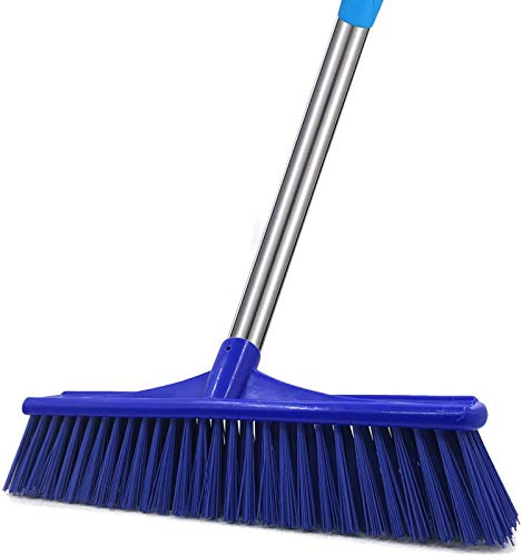 6 Foot Floor Cleaning Brush, Heavy Duty Bristles Scrubber Brush with Stainless Steel Pole Perfect for Hot Tub Swimming Pool Patio Kitchen Wall and Deck