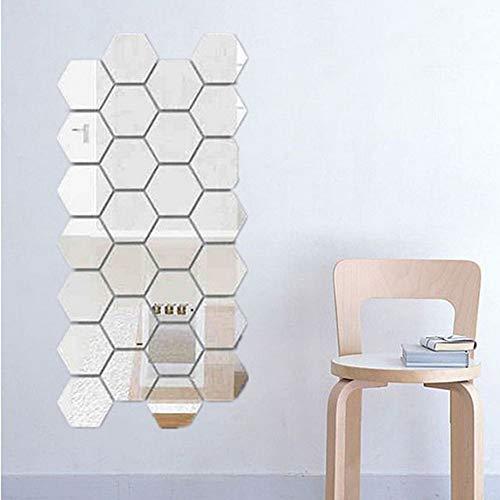 ADMOS Pegatina de Espejo Hexagonal de 24 Piezas, Azulejos de Mosaico autoadhesivos, Pegatinas de Espejo Decorativas para baño