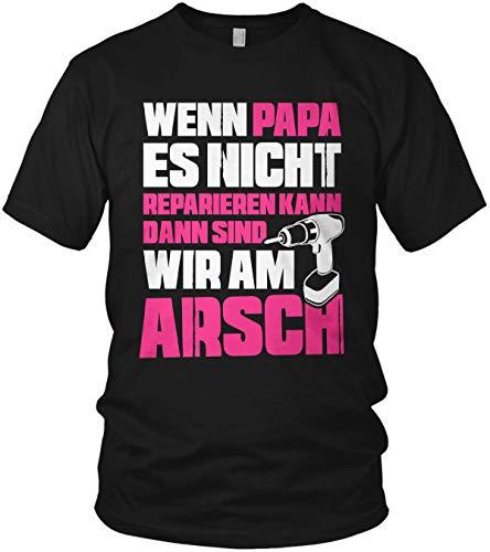 Wenn Papa es Nicht reparieren kann sind wir am Arsch - Papa Shirt Geschenk für Vatertag Spruch Vater - Herren T-Shirt und Männer Tshirt, Größe:XXL, Farbe:Schwarz/Neon Pink