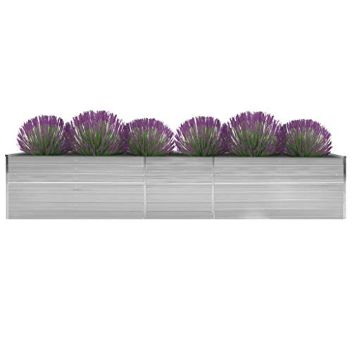vidaXL Garten-Hochbeet Verzinkter Stahl 400x80x45 cm Grau