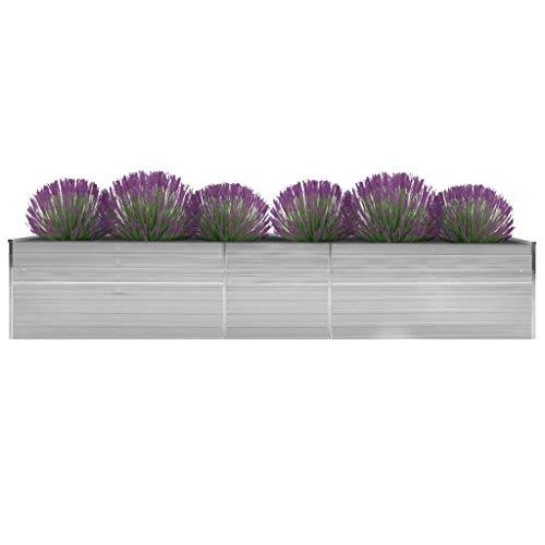 vidaXL - Jardinera de jardín de acero galvanizado, 400 x 80 x 45 cm, gris