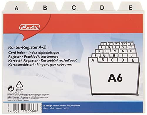 Herlitz 1500669 - Tarjetero de plástico A6 indizado de la A-Z, Color Blanco