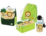 Mein Zwergenland   Personalisertes Kindergartenrucksack-Set   Kinderrucksack mit Name   Lunchbox Maxi mit Name   Turnbeutel aus Baumwolle mit Name   Personalisierte Trinkflasche   Grün   Löwe