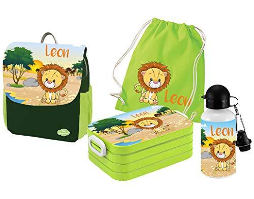 Mein Zwergenland | Personalisertes Kindergartenrucksack-Set | Kinderrucksack mit Name | Lunchbox Maxi mit Name | Turnbeutel aus Baumwolle mit Name | Personalisierte Trinkflasche | Grün | Löwe