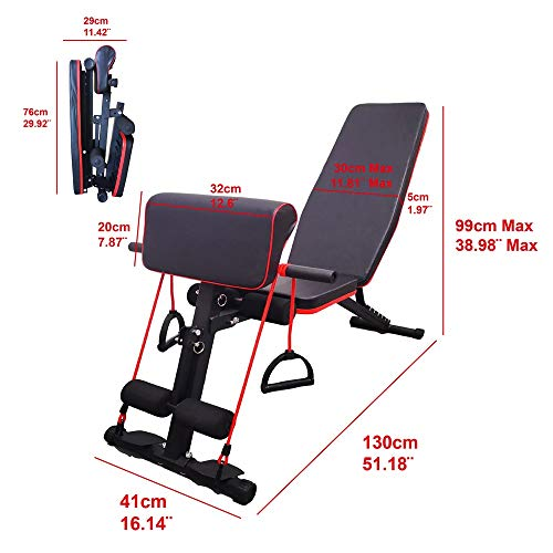 Weight Bench, Adjustable Strength Training Bench for Home Gym Full Body Workout Equipment (Black)