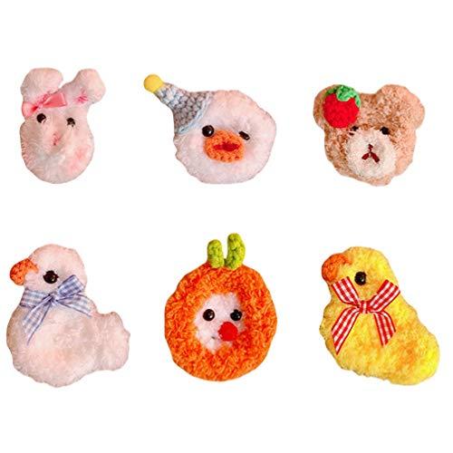 SOIMISS 6 Pzs Broche de Animales de Peluche Alfileres de Solapa Lindos Ramillete Pato Peludo Conejo Horquillas para El Cuello Pin Joyería para Ropa Bolsa Mochila Chaqueta Sombrero Niños