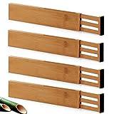 Divisores de cajones ajustables de bambú, organizador de cajones extensibles para cocina, ropa, aparador, dormitorio, cajón de bebé, baño y oficina, paquete de 4 4 – 22 pulgadas (Natural)