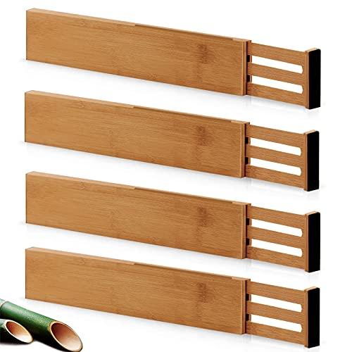 Vidor Schubladentrenner Verstellbar Bambus (31.1-43.8 cm), Schubladenorganizer Küche, gefedert, Küche, Kommode, Badezimmer, Schlafzimmer, Babyschublade, Schreibtisch (4er-Pack) Ordnungssystem