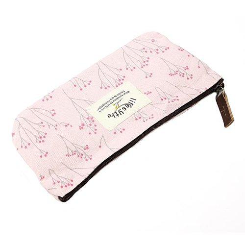 Lienzo Pen Pencil Case Papelería Bolsa Bolsa Caso Bolsas de Cosméticos rosa...