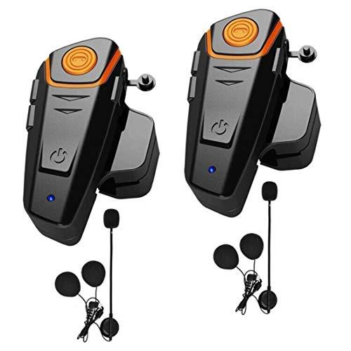 HuanGou Motorcycle Bluetooth Headset, BT-S2 Type-C New Version 1000M Helmet Intercom Headphones Up to 3 Riders Supports FM Radio GPS Music Hands-Free Walkie-Talkie(Dual)
