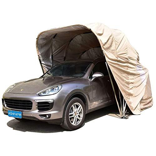 A&DW Autohaus, Autodach, Parkplatz, faltbar, Edelstahl, mobiles Garagenzelt Wasserdichter Anti-UV-Schutz Wind Schnee,Metallisch,250 X 600cm