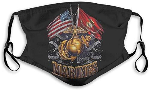 USMC United States Ma_ri-ne C-or_ps Veteran Face Mask Reusable Mouth Cover with Adjustable Earloops Fashion