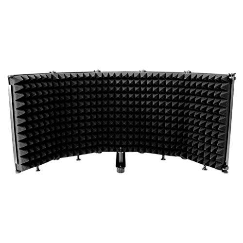 Gazaar Protector de aislamiento de micrófono, pantalla de viento, portátil, plegable, de plástico de cinco puertas, pantalla insonorizada para soporte o mesa, plegable, ajustable, duradero