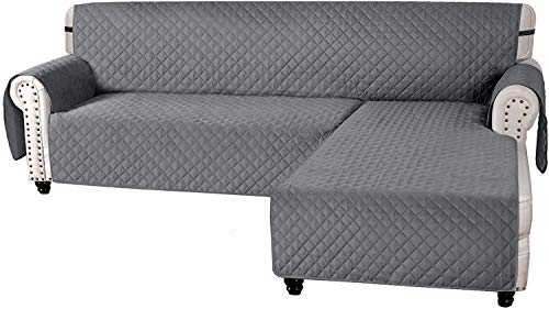Pillowcase Fundas de sofá en Forma de L Fundas de sofá para sofá seccional Reversible Chaise Lounge Funda de sofá Protector de Muebles para Perros y Mascotas (Gris, X-Large)