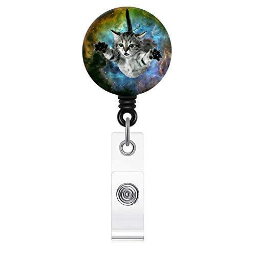 Cute Cat Pattern Badge Reel, Retractable Badge Holder with Alligator Clip, 24 inch Retractable Cord,ID Badge Lanyard Reel for Nurse, Teacher, Student, Volunteer
