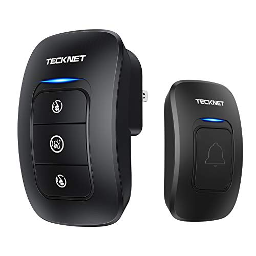 Wireless Doorbell, TeckNet Waterproof Wireless Door Bell Chime Kit, Operating at 1000 Foot Range with 38 Chimes, 4 Volume Levels and LED Flash