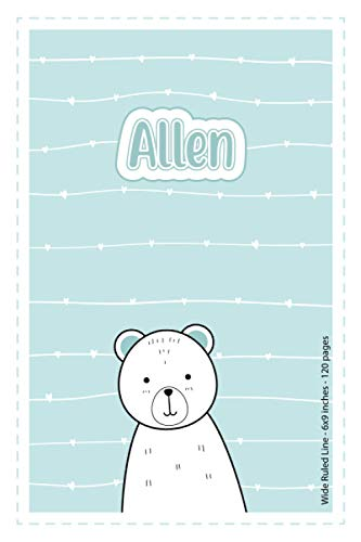 Allen: Personalized Name Wide Ruled Line Paper Notebook | 6x9 inches |...